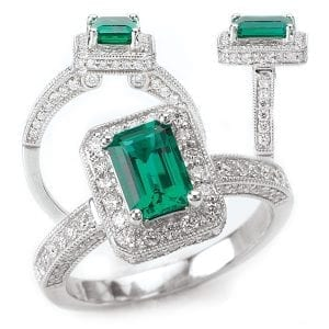 117051em Emerald Cut Chatham Emerald Engagement Ring