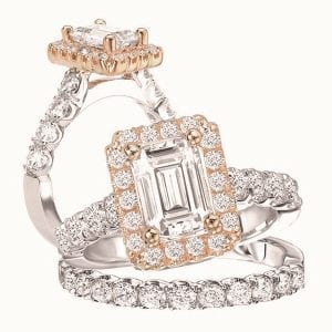 117055-100TR Emetrald cut two tone diamond semi-mount engagement ring
