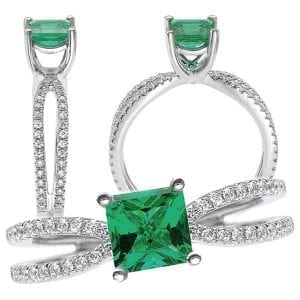 117111em Princess cut Chatham Emerald Engagement Ring