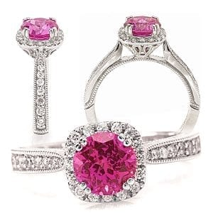 Chatham round pink sapphire and diamond halo engagement ring