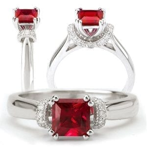 Chatham lab-grown princess cut ruby engagement ring