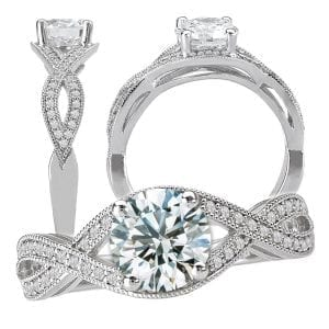 round diamond semi-mount engagement ring with infinity band