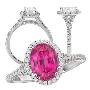 Chatham oval pink sapphire and diamond halo engagement ring