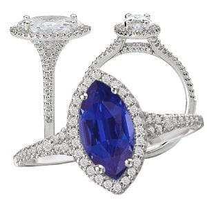 117440-100bs Marquise Cut Chatham Blue Sapphire Engagement Ring