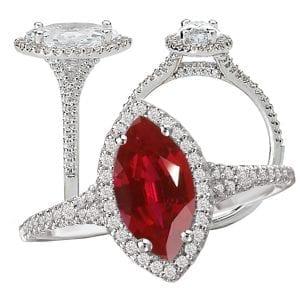 117440-100ru Chatham Marquise ruby engagement ring