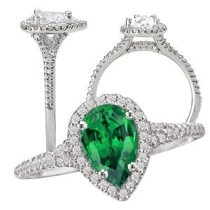 117441-100em Pear shaped Chatham emerald engagement ring
