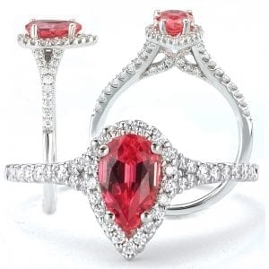 117553-100PD Pear shaped Chatham padparadscha engagement ring