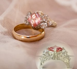 custom engagement ring with Chatham champagne sapphire center and white sapphire sides.
