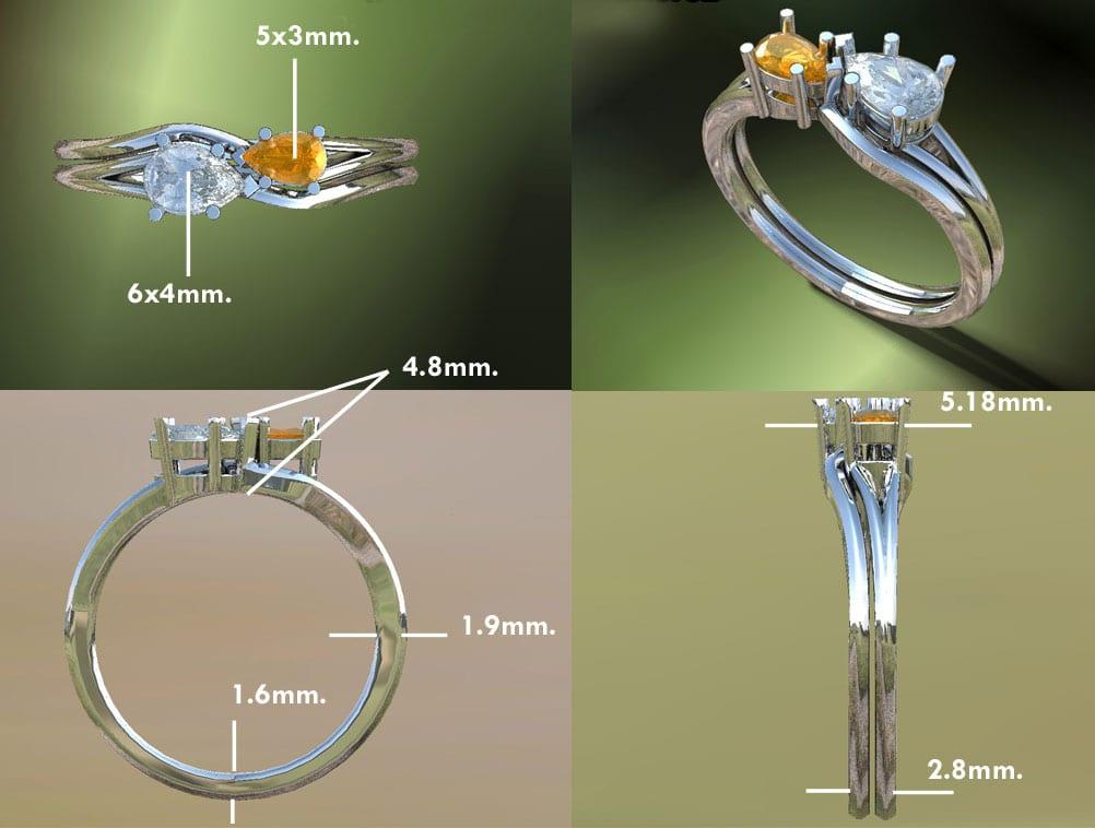 Intertwined Infinity Birthstone Bridal Set With Diamonds