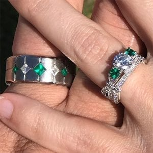 Custom moissanite and Chatham emerald engagement ring and wedding band