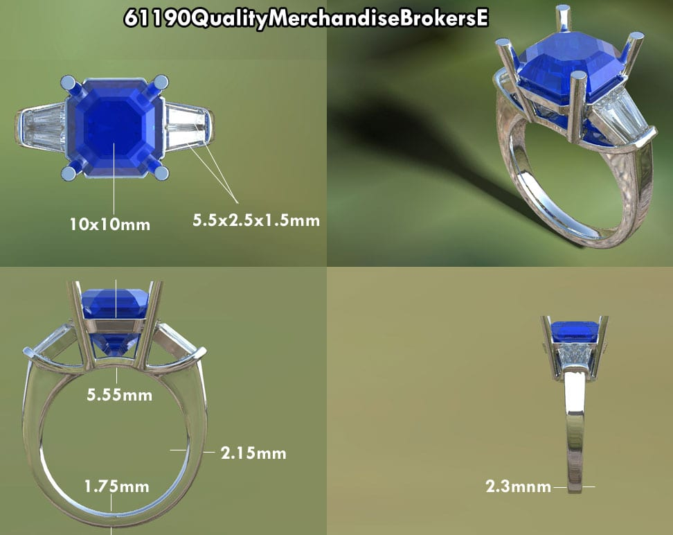Asscher Cut Blue Sapphire Ring