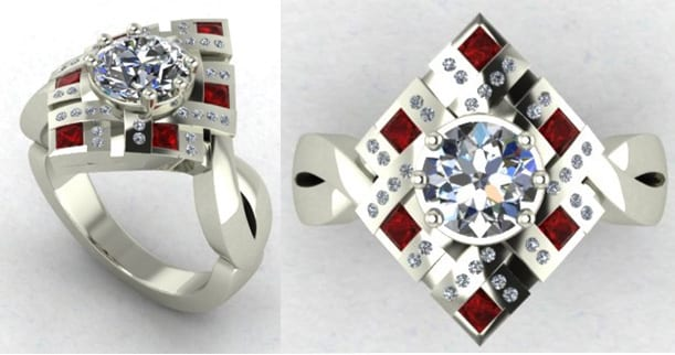Art Deco Diamond and Ruby Engagement Ring
