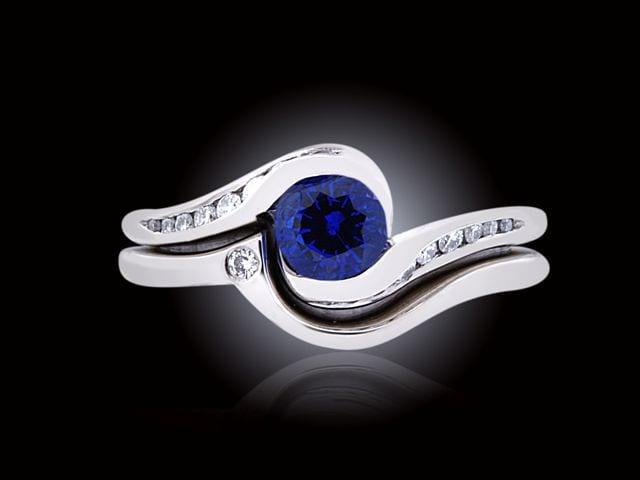 Petite Blue Sapphire & Diamond Bridal Set