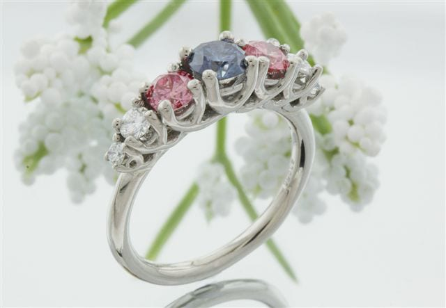 White, Pink and Blue Seven-Stone Trellis Engagement Ring