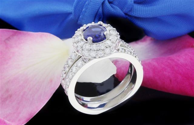 Blue Sapphire & Diamond Halo Engagement Ring